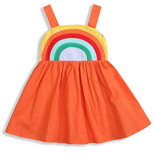 Toddler Baby Girls Outfits Princess Sundress Beach Summer Rainbow Sling Dress Skirt Sets (Orange, 3-4T)