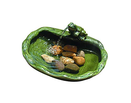 Smart Solar 22300R01 Solar Powered Ceramic Frog Water Feature, Green Glazed Ceramic, Powered By An Included Solar Panel That Operates An Integral Low Voltage Pump With Filter (Renewed)