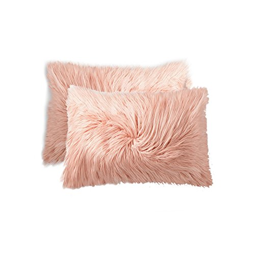 Rose Fur (LUXE FAUX FUR 676685042989 Sheepskin Faux Fur Pillow 12