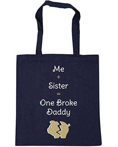 HippoWarehouse me + hermana = One Broke Daddy Tote Compras Bolsa de playa 42cm x38cm, 10litros azul marino