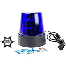 3-Piece Bundle Novelty Blue Police Beacon Strobe Light with Clip-On Badge and Whistle for Dress-Up Costume Party Accessories