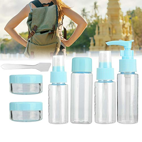 7Pcs Travel Cosmetic Liquid Containers Shampoo Lotion Shower Gel Makeup&Toiletries Liquid Storage Spray Bottle Set(02)