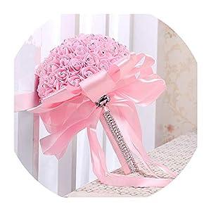 Romantic Artificial Wedding Bouquets Rose Wedding Foam Flowers Bridal Bouquets Wedding Bridal Bouquet de Noiva,Pink 92