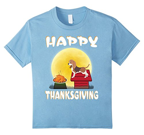 Toddler Hound Dog Costume (Kids American Foxhound Dog Costume Happy Thanksgiving Day T-Shirt 4 Baby Blue)