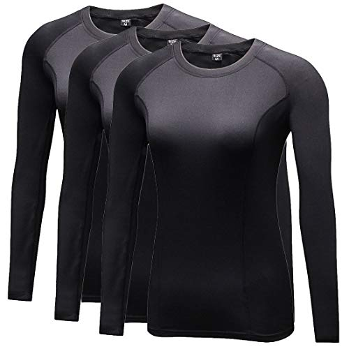 Sanke Women Thermal Wintergear Compression Baselayer Long Shirts with Thumb Hole Black
