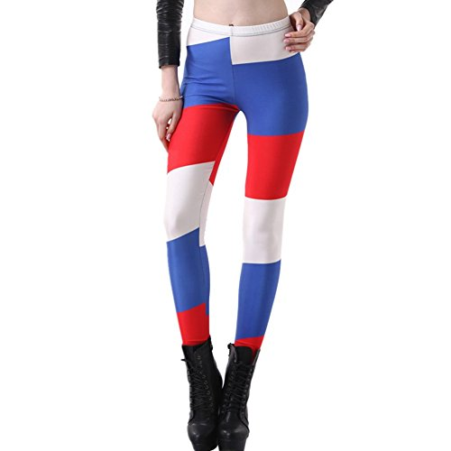 France Costume Information (JOYHY Women's Plus Size Flag Digital 3D Printed Leggings Pants Footless Tights Russian)