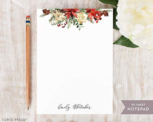 POINSETTIA NOTEPAD - Pretty Women's Personalized Stationery/Stationary 5x7 or 8x10 Note Pad