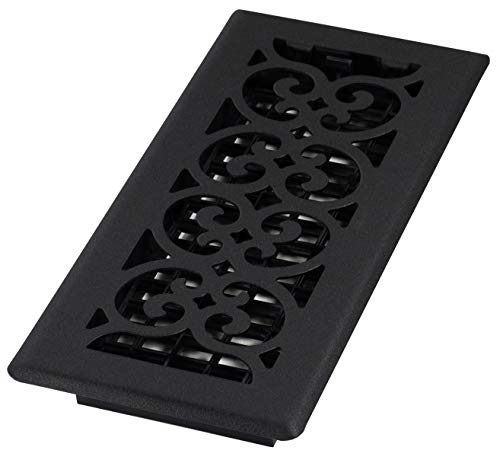 Decor Grates ST410 Scroll Floor Register, Textured Black, with Airflow Control Tab Construction, Rust Proof Damper Box, 4-Inch by 10-Inch