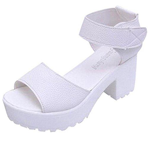 Minetom Damen Peep-Toe Plateau Sandalen Römersandalen mit Blockabsatz Sommer Gladiator Schuhe Plateauschuhen Weiß
