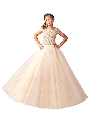 (Wenli Girls Off Shoulder Beadings Princess Birthday Party Glitz Pageant Gowns 10 US Champagne)