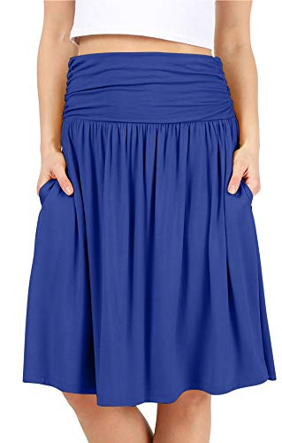 Womens Regular and Plus Size Skirt with Pockets Knee Length Ruched Flowy Skirt - Made in USA (Size 1X (US 12-14), Royal)