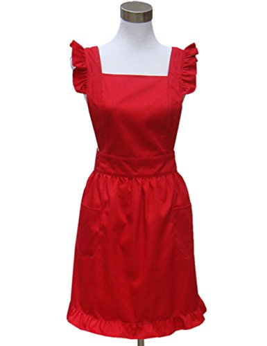 Hyzrz Lovely White Retro Lady's Aprons for Women's Cake Kitchen Fashion Cook Apron Chic with Pockets for Gift Chic 100% Cotton (Red)