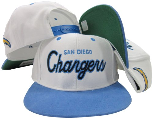 San Diego Chargers White/Blue Script Two Tone Adjustable Snapback Hat/Cap (Retro Sports San Diego)