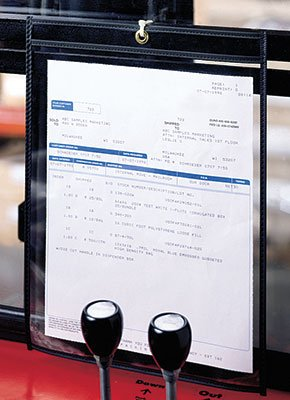 15'' x 12'' Vinyl Job Ticket Holder with Black Stitched Edges (5.75 Gauge) (25 Holders) - AB-99-10-17B by Miller Supply Inc