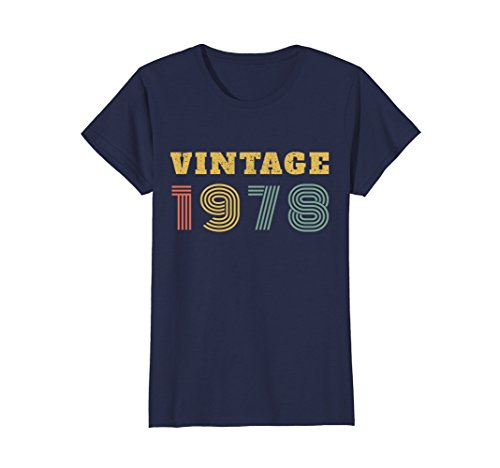 Womens 40th Birthday Gift Vintage 1978 Year T-Shirt Medium Navy