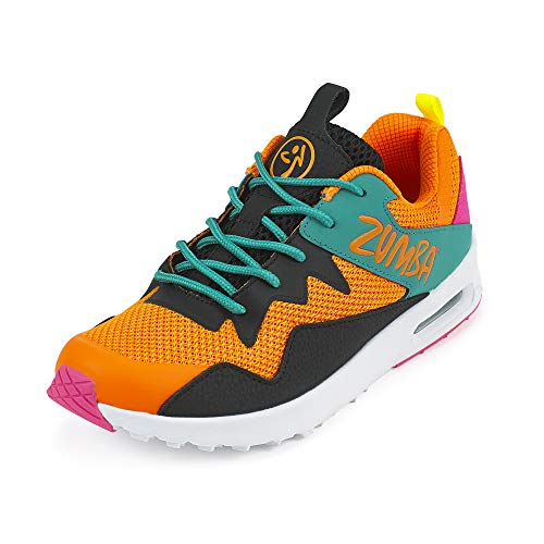 Zumba Women's Air Classic Fashion Dance Workout Shoes with Max Impact Protection Athletic Shoe, Orange/Black, 5 Regular US