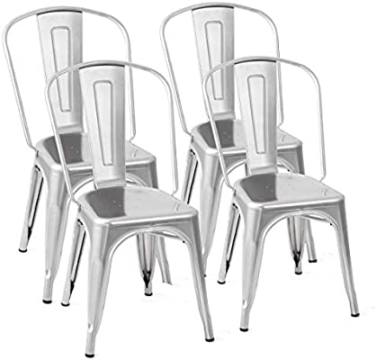 Amazing Costway Tolix Style Dining Chairs Metal Industrial Vintage Chic High Back Indoor Outdoor Dining Bistro Cafe Kitchen Side Stackable Chair Set Of 4 Gmtry Best Dining Table And Chair Ideas Images Gmtryco