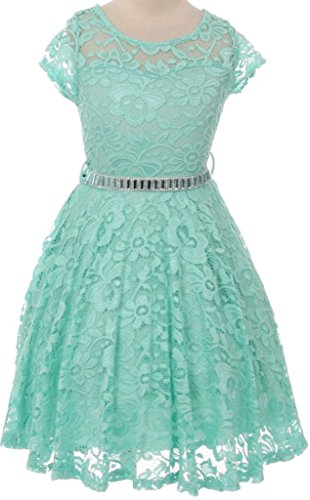 Flower Girl Dress Cap Sleeve Jewel Belt Floral Lace All Over for Big Girl Mint 10 JK19.88S