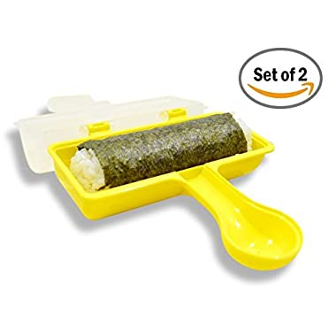Japanese Sushi Rice Roll Shaker-Replace Bamboo Sushi Mat, No Mold/Splinter. Fun & Easy-Just Shake! Make Healthy Lunch/Dinner/Snack, Great for Kids, Family, Weight watchers & at Parties! Set of 2