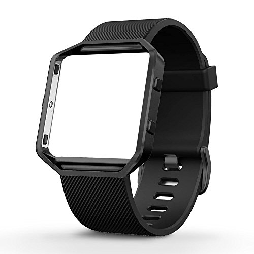 UMTELE Silicone Replacement Band with Gunmetal Frame for Fitbit Blaze Smart Fitness Watch, Large, Black (Fitbit Alta Hr Special Edition Black Gunmetal Large)