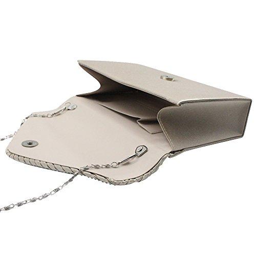 Envelope Clutch Handbagchampagne New Diamante Party Satin Wiwsi champagne Shiny Lady Bag Fashion 0xZUIp6