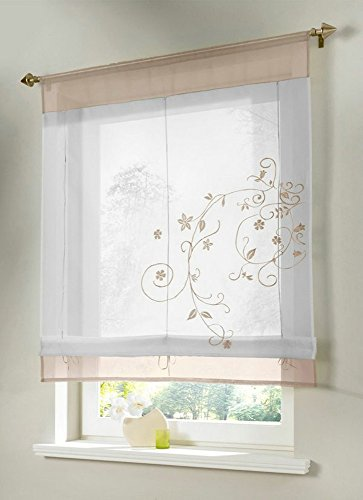 Uphome 1pcs Country Style Embroidered Flower Voile Roman Curtain - Silk Ribbon Lifting Back Tab/Rod Pocket Sheer Window Curtain,31 x 47 Inch,Sand (Pocket Organza Rod Ribbon Curtain)