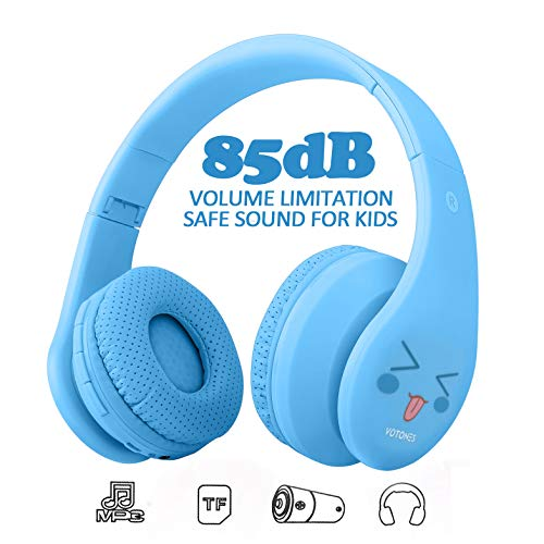 Kids Bluetooth Headphones, Wireless/Wired Foldable Adjustable Lightweight Headset with Mic, for Phones Computer for Children/Boy/Girl/Teen/Family (Pale Blue)