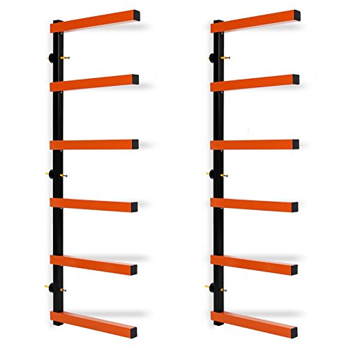 ECOTRIC Max 600 lb Steel 6 Shelf Lumber Storage Rack Wall-Mounted Wood Pipes ()