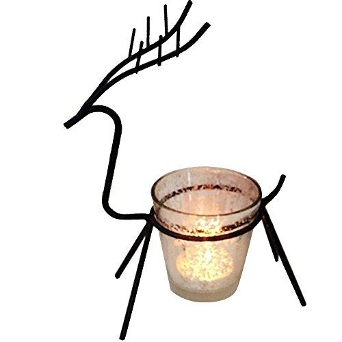 KICODE Candlestick Iron Black Christmas Candle Table Tea light Elk Deer - Stand Reindeer Candle