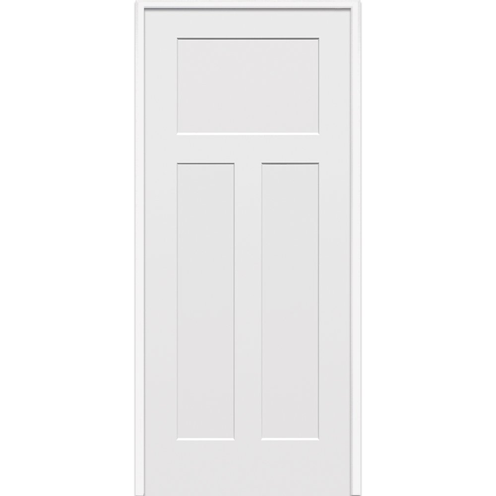 National Door Z020494L 20-Minute Fire Rated MDF Door, Primed, Left Hand In-swing, Craftsman 3-Panel, 32'' x 80''