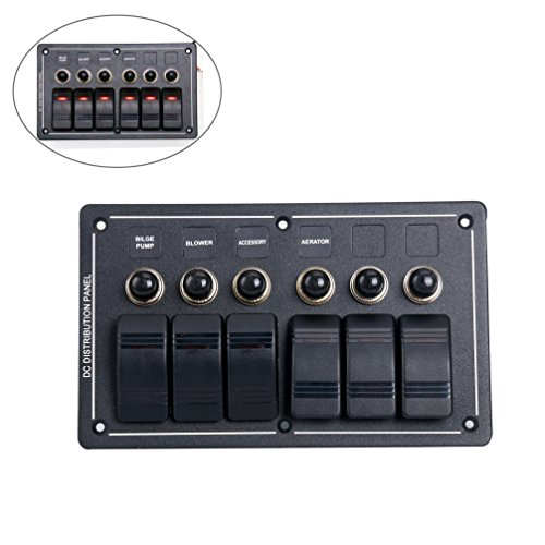 (Amarine-made 6 Gang Aluminium LED Rocker & Circuit Breaker Waterproof Marine Boat Rv Switch Panel - AMLB6Z)