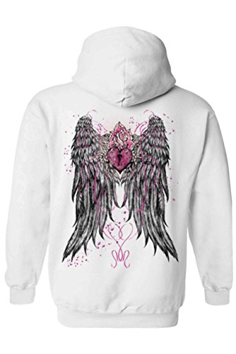 Angel White Hoodie - SHORE TRENDZ Women's/Unisex Zip-Up Hoodie Beautiful Angel Wings With Heart Lock and Rose WHITE (Medium)