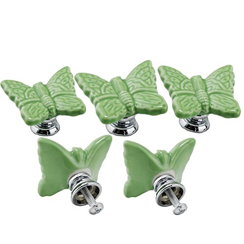 Ltvystore Green Cute Butterfly Porcelain Ceramic Knobs/Pull/Handle for Door Kitchen Cabinet Cupboard Chest Dressers Baby Kid's Children's Furniture-5Pack