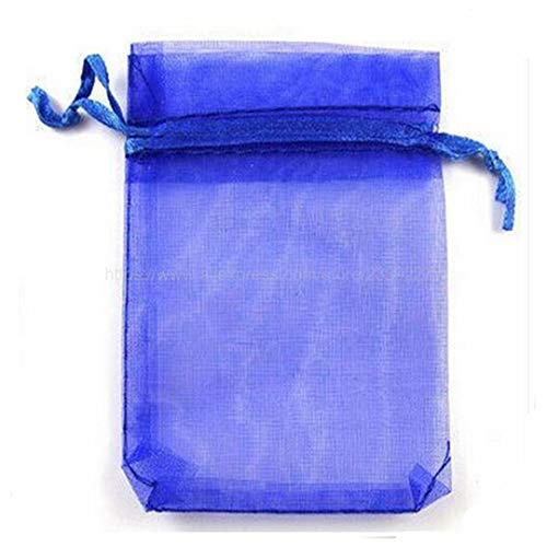 100Pcs Jewelry Bags Packing Drawable Organza Bags 7X9 9X12 10X15 13X18 17X23cm Wedding/Christmas Gift Bags Sachet Organza 5Z Royal Blue 9x12cm