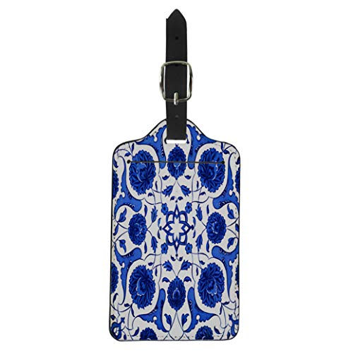 Semtomn Luggage Tag Blue Marble Ceramic Tiles Patterns From Turkey Turkish Flower Suitcase Baggage Label Travel Tag Labels