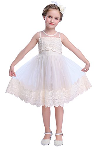 Happy Rose Flower Girl's Dress Vintage Lace Ivory Cream 5 ()