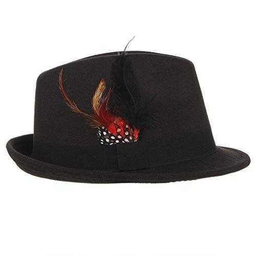 4c4460db2ad23 Gemvie Men s Warm Woolen Crushable Feather Gangster Trilby Dent Fedora Hat