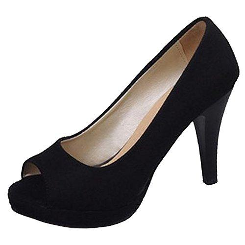 Coolcept Women Solid Peep Toe Summer Shoes High Heel Black-2 EY6hzD