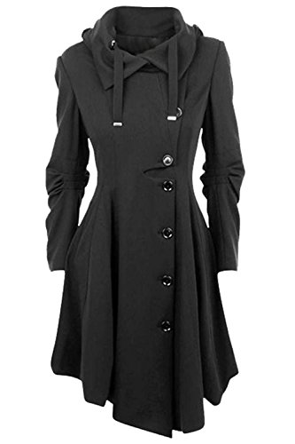 Allonly Women's Button Closure Asymmetrical Hem Long Trench Black Cloak Coat
