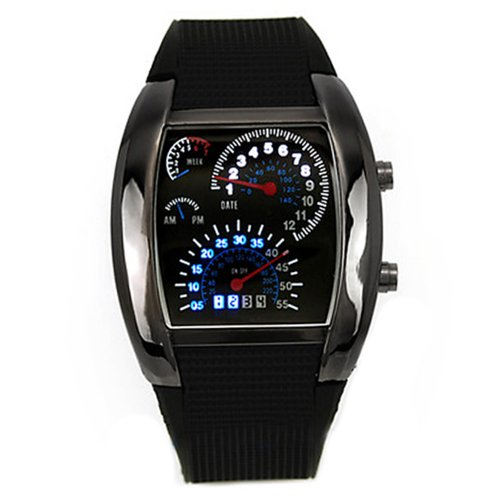 Fashion Mens RPM Turbo Blue Flash LED Watch Gift Sports Watches Car Meter ()
