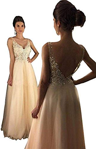 YuNuo Open Back Lace Champagne Prom Gowns Cheap V-Neck A-line Beaded Long Prom Dresses 2018 S3Champagne-US4