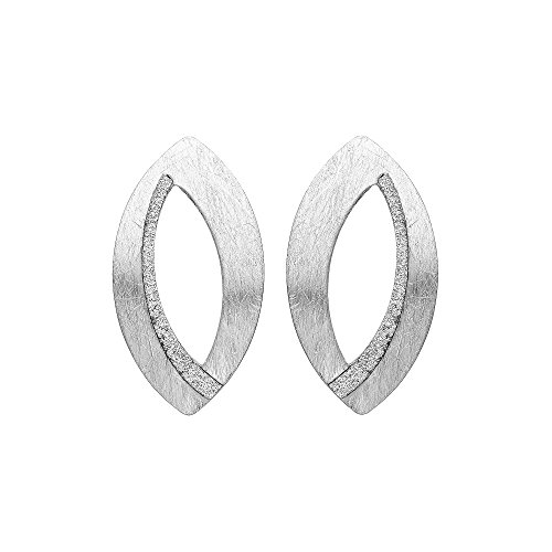 Almond Shaped Earrings - Brushed Silver Tone Almond Shaped Open Drop Earrings with Sparkle Finish Detail