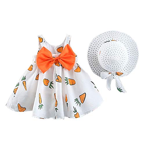 RAINED-Baby Girls' 2-Piece Sundress and Straw Hat Set Sleeveless Tutu Dress Dots Bow Sundress Summer Outfits Clothes Set