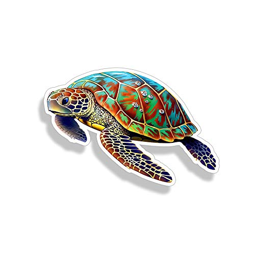 (Sea Turtle Sticker Full Color Car Window Bumper Decal Custom Printed Ocean Beach Sea Animal Life Graphic)