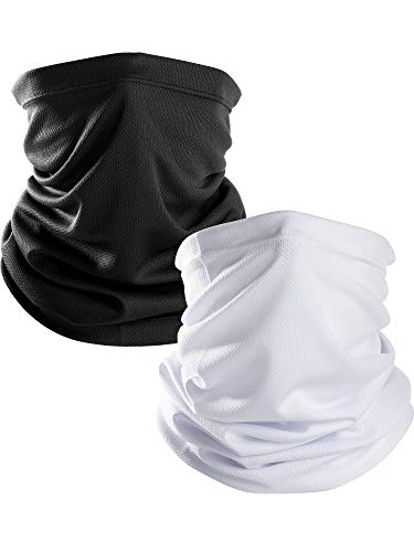 Chuangdi Unisex Thin Neck Gaiter Balaclava Face Mask Sun Protective Neck Gaiter Seamless Bandana Headwear for Prevent Dust and Sun (Black and White, 2 Pieces) ()
