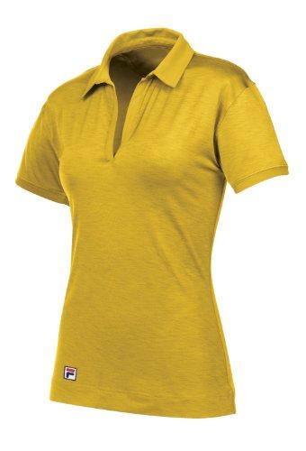 Fila Golf Women's Dresden Striped Polo Shirt (Maize, Medium)