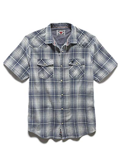 Flag & Anthem x Desert Son - Men's Short Sleeve Western Snap Button Shirt, L, Aspen Blue
