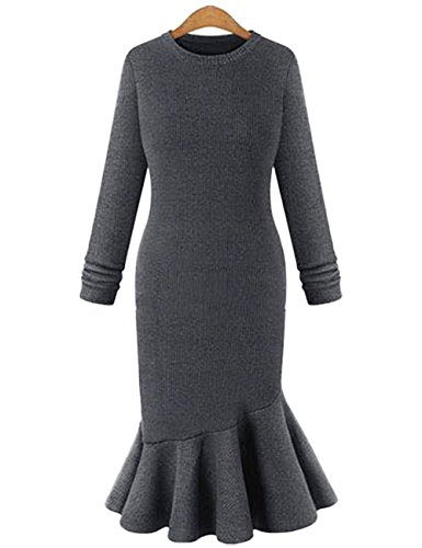 Leadingstar-Womens-Bodyon-Mermaid-Long-Sleeve-Flounced-Fishtail-Sweater-Dress