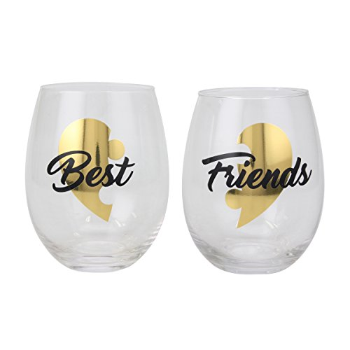 Top Shelf Decorative Black and Gold Best Friends Stemless Wine Glass Set, Unique and Thoughtful Gift Idea for Birthdays, Christmas, or Any Special Occasion, Set of 2