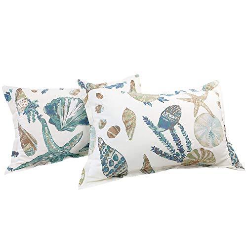 FADFAY 20X30 Pillowcase Beach Themed Seashells and Starfish Print Shams 100% Cotton Pillow Covers, 2Pcs, Standard Size (Twin/Full/Queen)